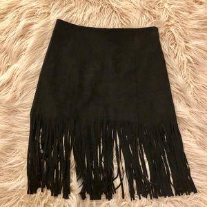 Black Faux Suede Fringe Skirt